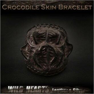 鱷魚皮皮革手鍊手袖口手鐲深棕色 Crocodile Skin Leather Bracelet Wristband Cuff Bangle Dark Brown WILD HEARTS Leather&Silver (ID lb3116r93)