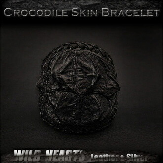 鱷魚皮皮革手鍊手袖口手鐲黑色 Crocodile Skin Leather Bracelet Wristband Cuff Bangle Black WILD HEARTS Leather&Silver (ID lb3118r93)