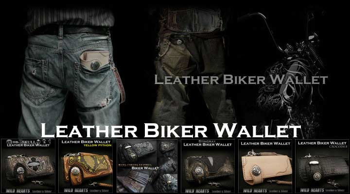 Skull carved Genuine  Cowhide Leather Biker wallets attached a Silver Concho! Custom ,Handmade/Crocodile,Shark,Stingray,Python Skin wallets