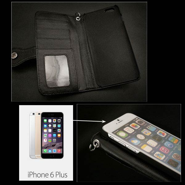 genuine leather iphone 6 plus  flip case wallet card slots