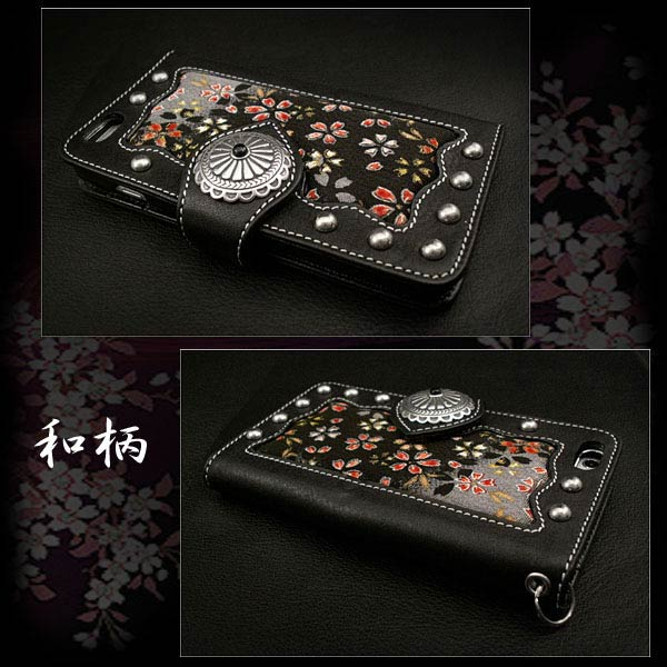 leather iphone 6 plus  flip case wallet cover  japanese pattern