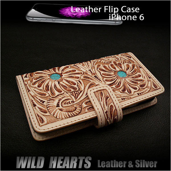 genuine leather iPhone 6 flip case wallet cover carved custom handmade