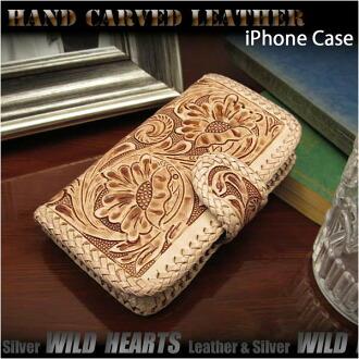 真皮iPhone 6/6s iPhone 7 翻轉錶殼錢包蓋雕刻手工製作的Genuine Leather iPhone 6 Flip Case Wallet Cover Carved Custom Handmade WILD HEARTS Leather& Silver(Item ID ip2575r101)