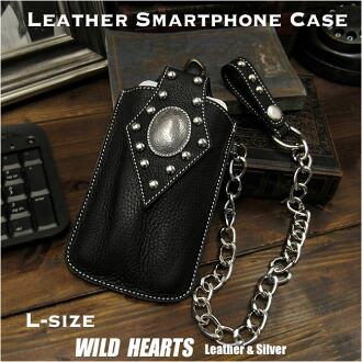 皮革iPhone 6s / 7加智能手機殼騎自行車腰帶袋 Leather iPhone 6s/7 Plus Smartphone Case Biker Belt Pouch WILD HEARTS Leather&Silver ( ID cc2554r22 )
