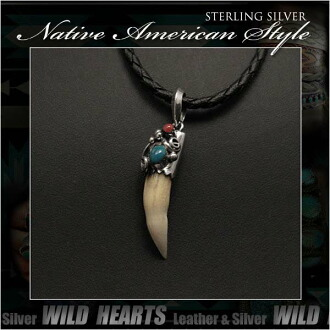 純銀項鍊吊墜鱷魚方綠松石吊墜納瓦霍風格 Sterling Silver Necklace Pendant Crocodile Fang Turquoise Pendant Navajo Style WILD HEARTS Leather&Silver (ID pt3228)
