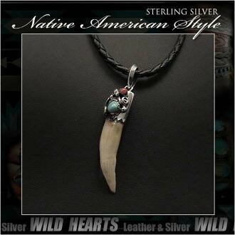 純銀項鍊吊墜鱷魚方綠松石吊墜納瓦霍風格 Sterling Silver Necklace Pendant Crocodile Fang Turquoise Pendant Navajo Style WILD HEARTS Leather&Silver (ID pt3229)
