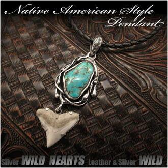 純銀項鍊吊墜綠松石鯊魚牙吊墜納瓦霍風格 Sterling Silver Necklace Pendant Turquoise Shark Tooth Pendant Navajo Style WILD HEARTS Leather&Silver (ID pt3235r73)