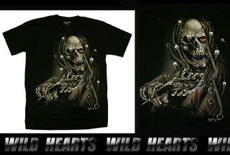 男士黑色100%純棉T卹S / M / L/骷髏Men's Black 100% cotton T-Shirts S/M/L/Skull WILD HEARTS Leather&Silver (Item ID ts0836r43)