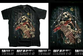 天生的野性/男士黑色100%純棉T卹S / M / L/骷髏 Born To Be Wild/Men's Black 100% cotton T-ShirtsS/M/L/Skull WILD HEARTS Leather&Silver (ID ts1721r35)
