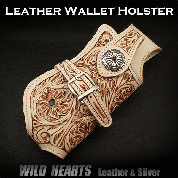 biker/wallet/holster/wild/hearts/leather/silver