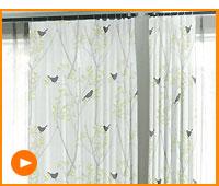【デザインカーテン】洗える!ミキニコトリ