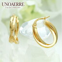 Uno A Erre K18 yellow gold hoop pierced earrings
