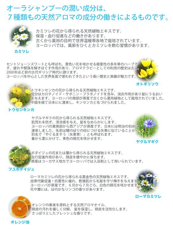 オーラシャンプー 7種の天然成分