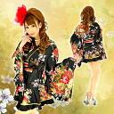 4142 re-arrival! !The clothes which a gold piping sum pattern satin kimono dress satin sum pattern mini-high-class prostitute kimono dress kimono style mini-satin good point has dark