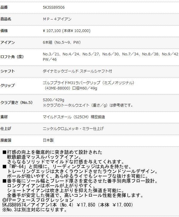 [ 予約販売 ] ミズノ 2013年モデル 軟鉄鍛造 マッスルバックアイアン MP-4 DynamicGold スチールシャフト 「5-PW」の6本セット