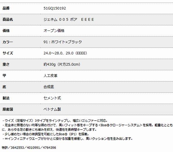 【2016年継続品 EEEEサイズ 送料無料】 ミズノ メンズ ジェネム 005 ボア EEEE(GENEM 005 Boa) 51GQ1501 [サイズ:24.0~28.0、29.0] [MIZUNO]