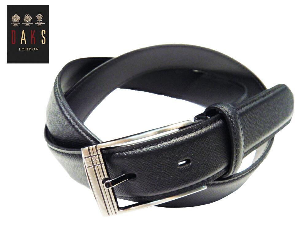 『国内縫製 DAKS ビジネスベルト スムースレザー 『ブラック』 牛革 ピンタイプ 3.0cm幅 レギュラーサイズ 』