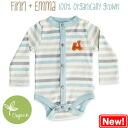 Finn+Emma 100% organic quality high quality long sleeve bodysuits (Stripe Scooter design)