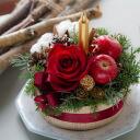 크리스마스 플라워 케이크 볼륨 가득 꽃으로 만든 케이크 아무쪼록 드세요♪