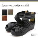 The autumn when it is easy to walk when I have a cute finish pleats cross belt wedge sandal shoes which sandals Lady's is refined, and are natural in the spring and summer