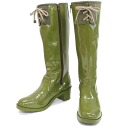 BC17431gr / enamel rain boots with Ribbon. Cool as nicely to cute! Convenient zipper with 10P28oct13fs3gm