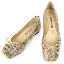 No.519python/ square toe ballet shoes ★ Ribbon casually and cute 10P28oct13fs3gm