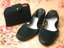 Portable slippers, plain black notebook type pouch with fs3gm