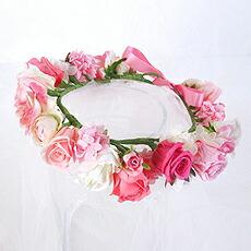 バラの花冠#ピンク×ホワイト