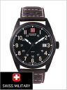 ( swismiglitary ) SWISS MILITARY watch classic Swiss military leather belt (Brown) /PVD Black coating, black dial (men) genuine, 20% off ML-304
