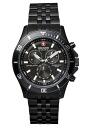 SWISS MILITARY (the Swiss military) chronograph watch, FlLAG SHIP (flagship) black IP/ black clockface (male business) Switzerland military ML -333