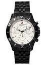 SWISS MILITARY (the Swiss military) chronograph watch, FlLAG SHIP (flagship) black IP/ white clockface (male business) Switzerland military ML -335