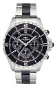 ( Technos ) TECHNOS Chronograph Watch stainless steel / ceramic belt, black dial, genuine, men's T3032TB