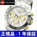 TECHNOS watch chronograph men white / gold TGM615-LW