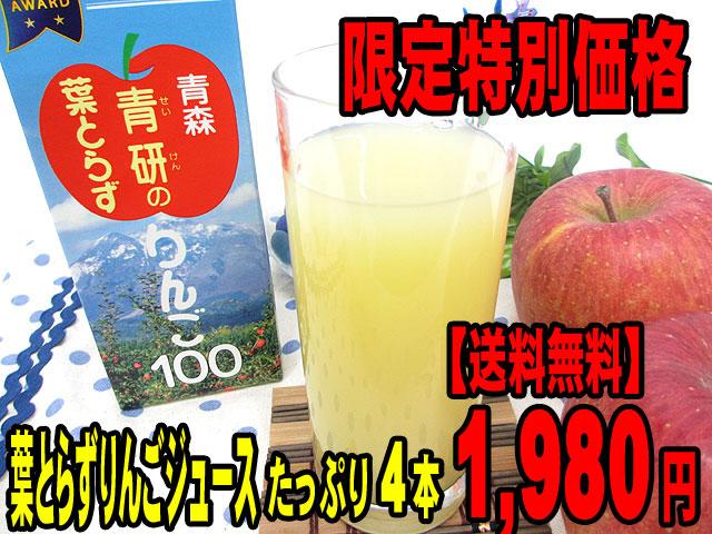 【限定特別価格】葉とらずりんごジュース(ストレート100%)たっぷり4本【送料無料】1,980円♪