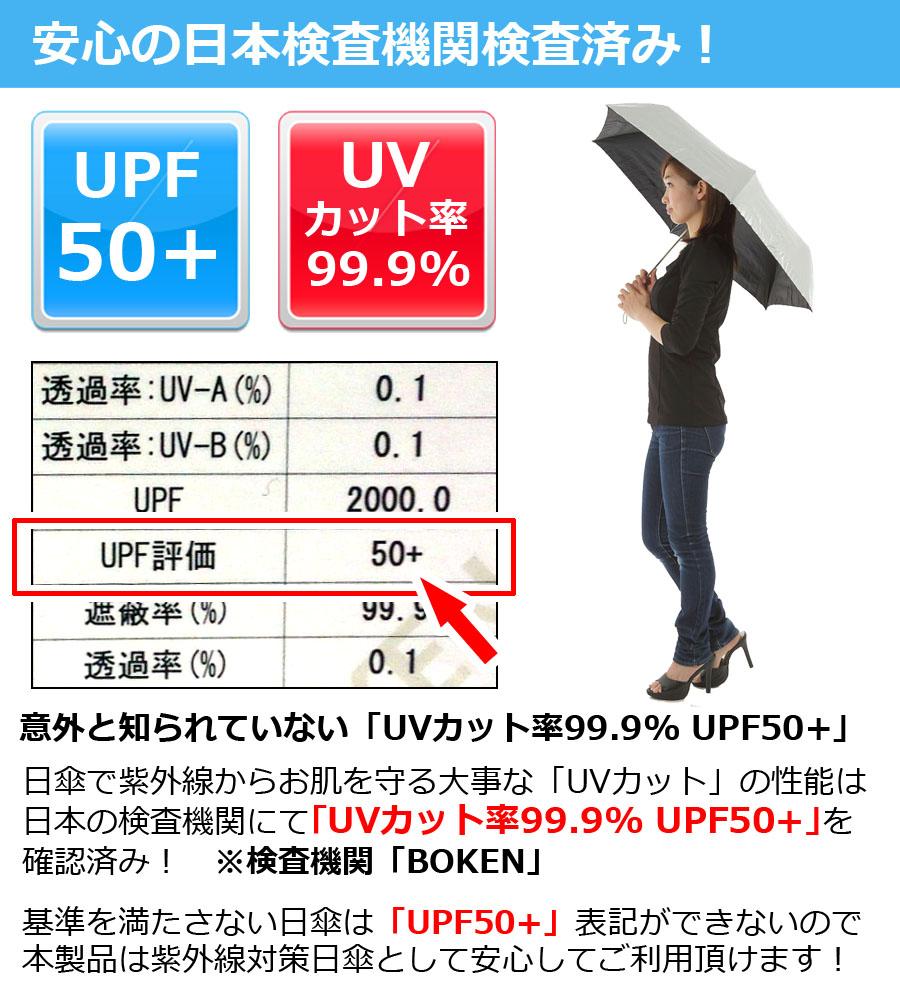 UV カット 99.9% UPF50+ 晴雨兼用 折りたたみ 日傘 親骨54cm 6本骨 シルバー 銀