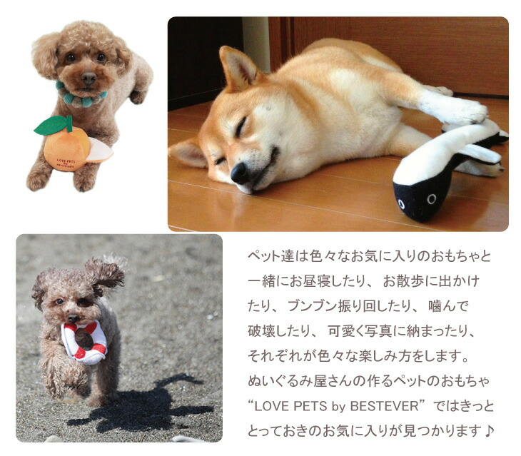 大うなぎや新巻鮭などの大きなおもちゃは柴犬などの中型犬にもぴったりのサイズです。