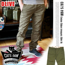 COTTON CHINOS TROUSERS SLIM オリーブ CAT'S PAW