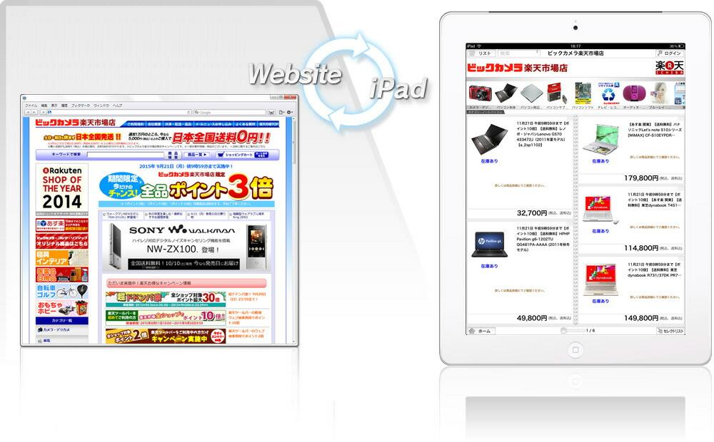 ウェブサイトとiPadでの表示例
