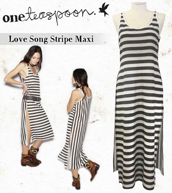 【 One Teaspoon ワンティースプーン 】Love Song Stripe Maxi ストライプ ロング ワンピース