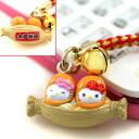 ◆ Ibaraki limited edition Hello Kitty (HELLOKITTY) Mito natto ツインキティ netsuke strap fs3gm
