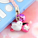 □-Hello Kitty Stork Kitty netsuke strap pink (Black beak) fs3gm