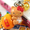 ◆ boso Chiba limited edition Hello Kitty (HELLOKITTY) Biwa version netsuke strap ブラウンキティ fs3gm