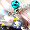 □ ◆ Hello Kitty Stork Kitty netsuke strap blue