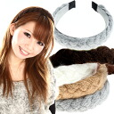 ◆ simple headband but girly large fluffy yarn braid? s P06Dec14 heaakuse / hair accessories / hair / Party invited here range / ornament / hairstyles?