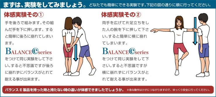 まずはバランスEシリーズを着けて体感してみましょう。実験図の通りに実験を行ってください。