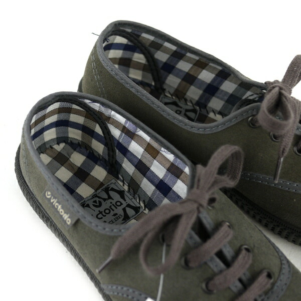 "Detailed image of Victoria (Victoria) suede checked pattern insole low-frequency cut sneakers ""INGLESA SERRAJE"" .06787"