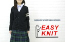 EASY KNIT (easy knitting) CARDIGANW/LEFTSLEEVESTRIPED-NEK1001-0341201