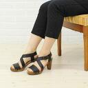 Sanita( サニタ) leather Wood corn cross strap sandals .9432-0241301
