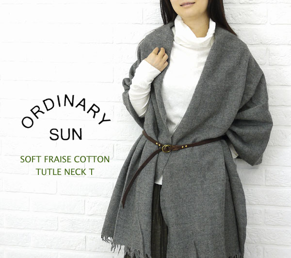 ORDINARY SUN(オーディナリー サン) コットン 天竺 長袖 タートルネック Tシャツ・BCT-007の着用イメージ