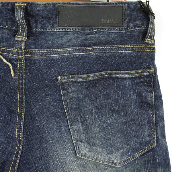 "Detailed image of KURO( black) cotton full-length skinny 01 denim underwear ""Fibro Vintage Wash "", FIBRO-VW01"